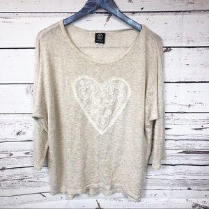 Bobeau Tan Cream Heart Sweater Top